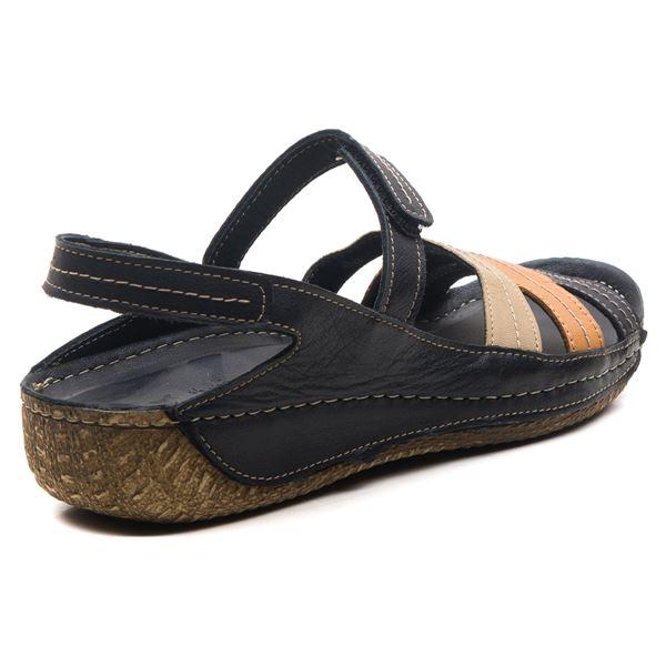 Armani Kadın Deri Sandalet Siyah Kum Taba