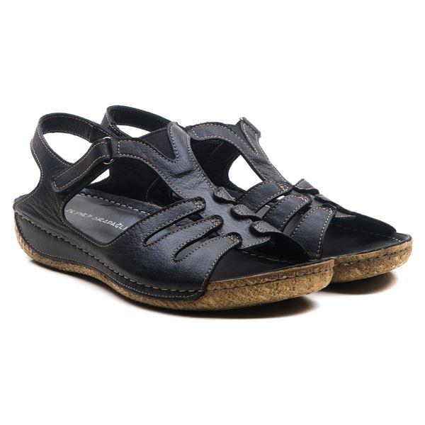 Angelo Kadın Deri Sandalet Siyah