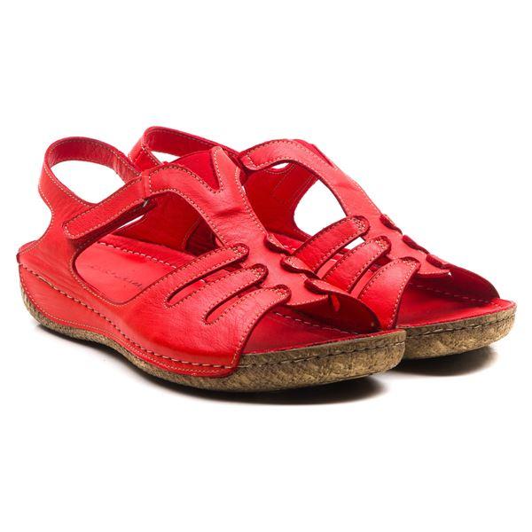 Angelo Kadın Deri Sandalet Kırmızı
