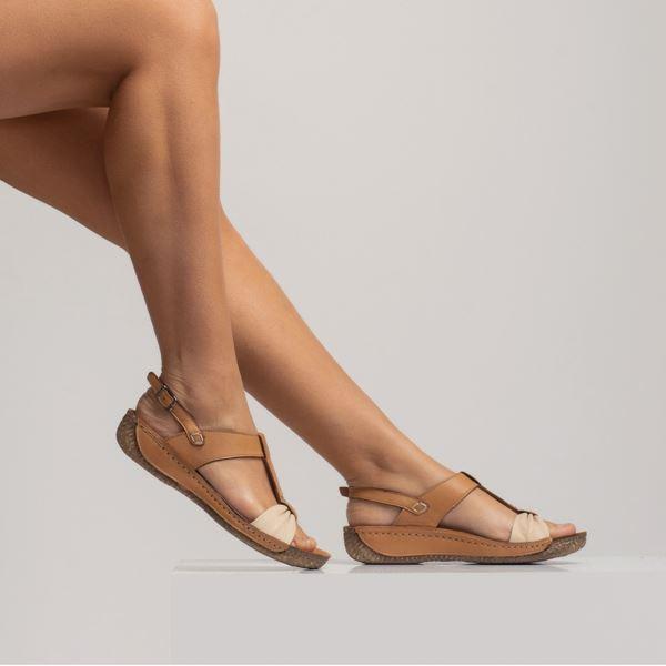 Axel Kadın Deri Sandalet Taba Bej