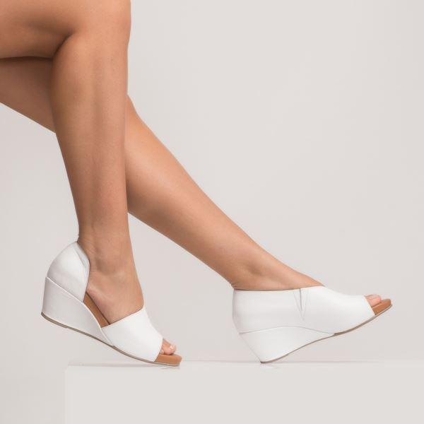 Anjali Kadın Dolgu Topuk Sandalet Beyaz