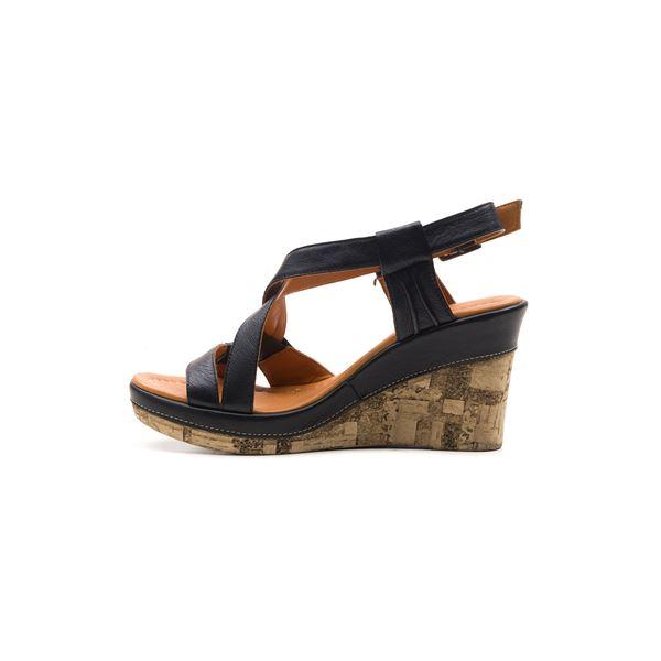 Loreana Kaplama Dolgu Deri Sandalet Siyah