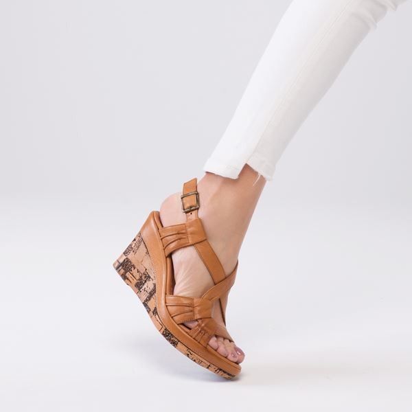 Loreana Kaplama Dolgu Deri Sandalet Taba