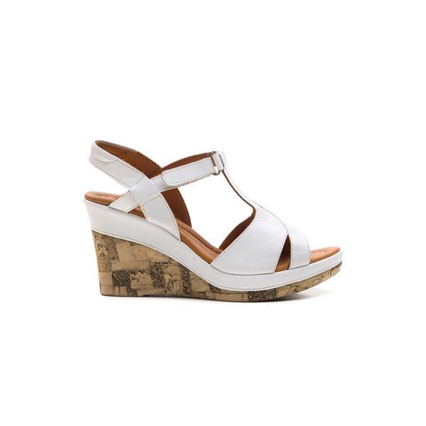 Leonilda Kaplama Dolgu Deri Sandalet Beyaz