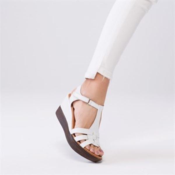 Cerelia Deri Sandalet Beyaz