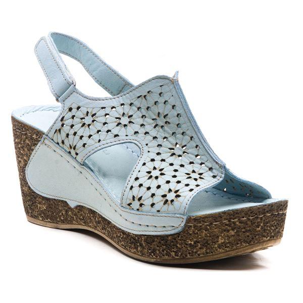 Amelia Kadın Dolgu Topuk Sandalet Bebe Mavi