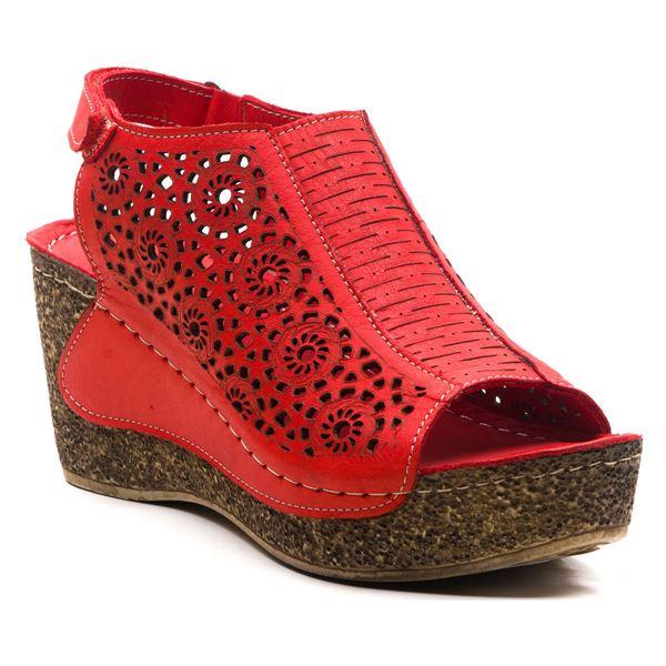 Linda Kadın Dolgu Topuk Sandalet Kırmızı