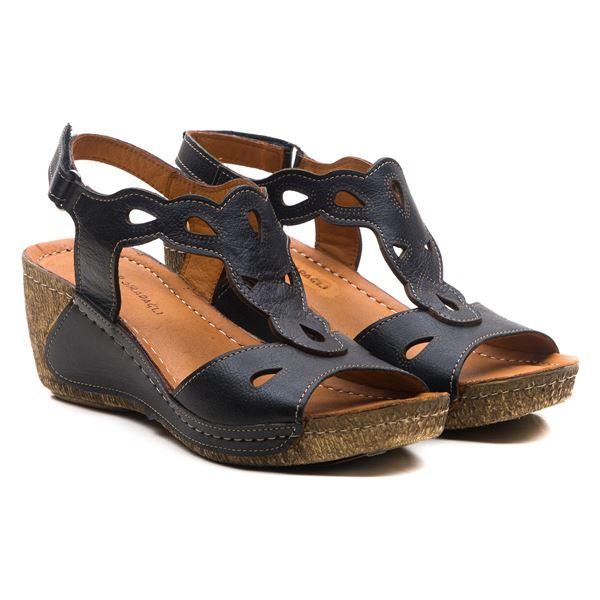 Alinda Kadın Dolgu Topuk Sandalet Siyah