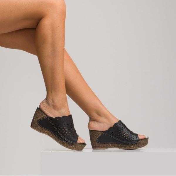 Emma Kadın Deri Dolgu Topuk Terlik Siyah
