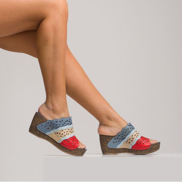 Eliza Kadın Deri Dolgu Topuk Terlik Mavi Bej Kırmızı