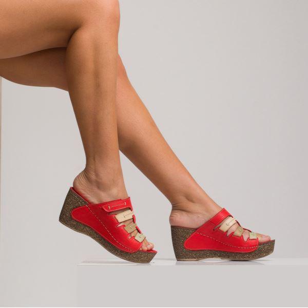 Elitta Kadın Deri Dolgu Topuk Terlik Kırmızı Bej Kum