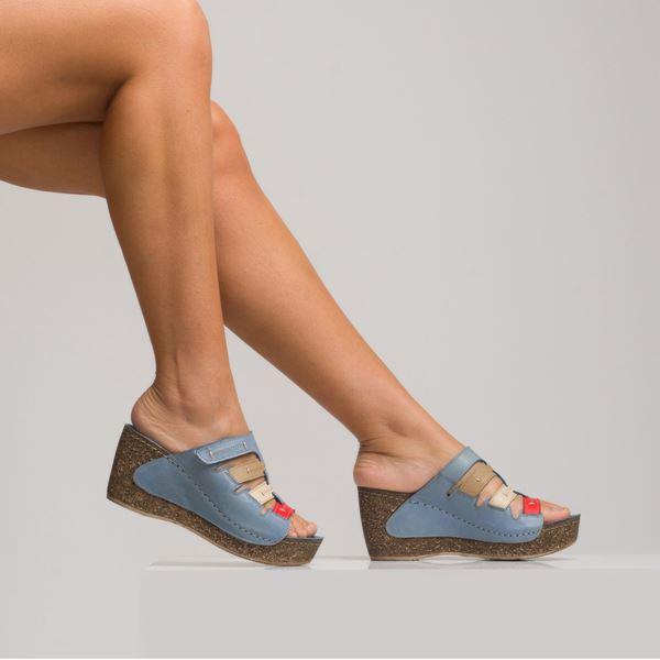 Elitta Kadın Deri Dolgu Topuk Terlik Mavi Kum Bej Kırmızı
