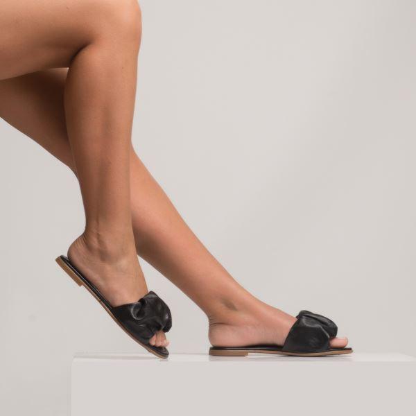 Tralle Kadın Deri Terlik Siyah