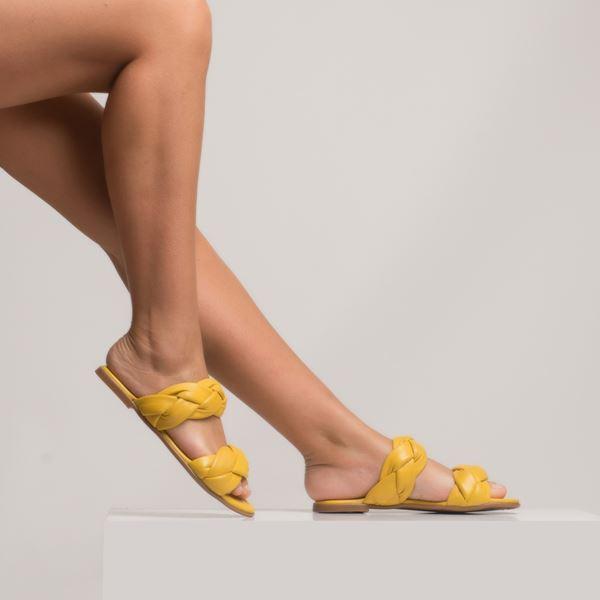 Cadiela Kadın Deri Terlik Sarı
