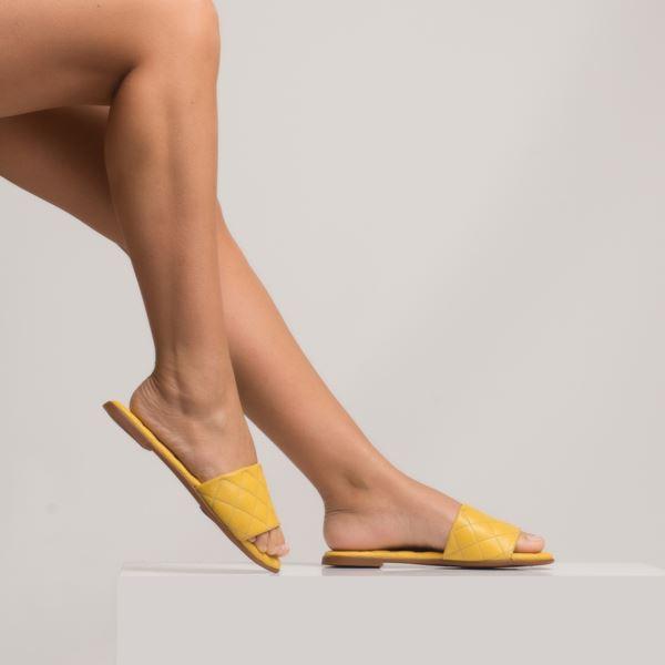 Cardoina Kadın Deri Terlik Sarı