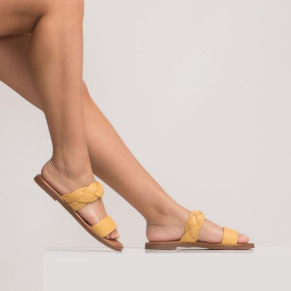 Janez Kadın Deri Terlik Sarı