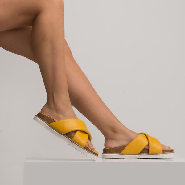 Cabloren Kadın Deri Terlik Sarı