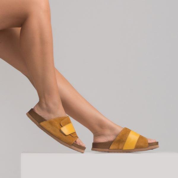 marle Kadın Deri Terlik Sarı Süet
