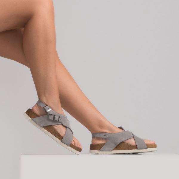 morena Kadın Deri Sandalet Gri Süet