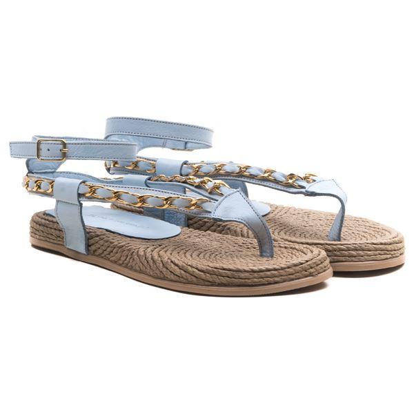 Cloweer Kadın Deri Sandalet Bebe Mavi