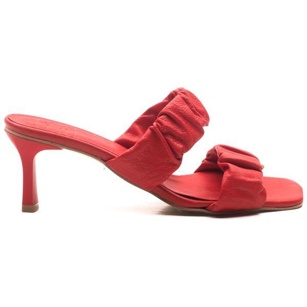 Sahra Kadın Deri Terlik Kırmızı