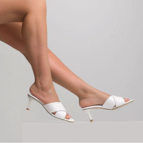 Jadrian Kadın Deri Terlik Beyaz