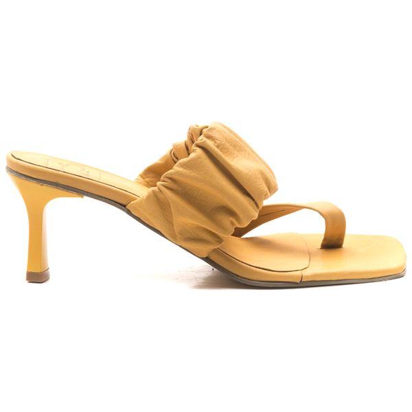 Alfrida Kadın Deri Terlik Sarı