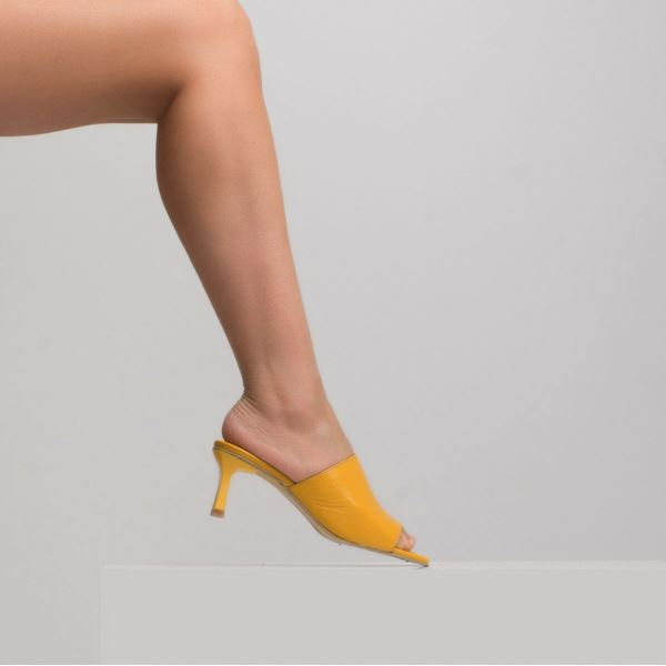 Milosine Kadın Deri Terlik Sarı