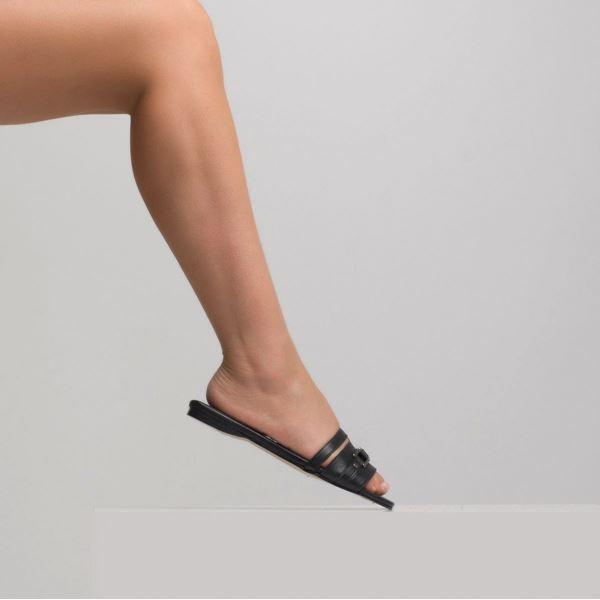 Lonicera Kadın Deri Terlik Siyah