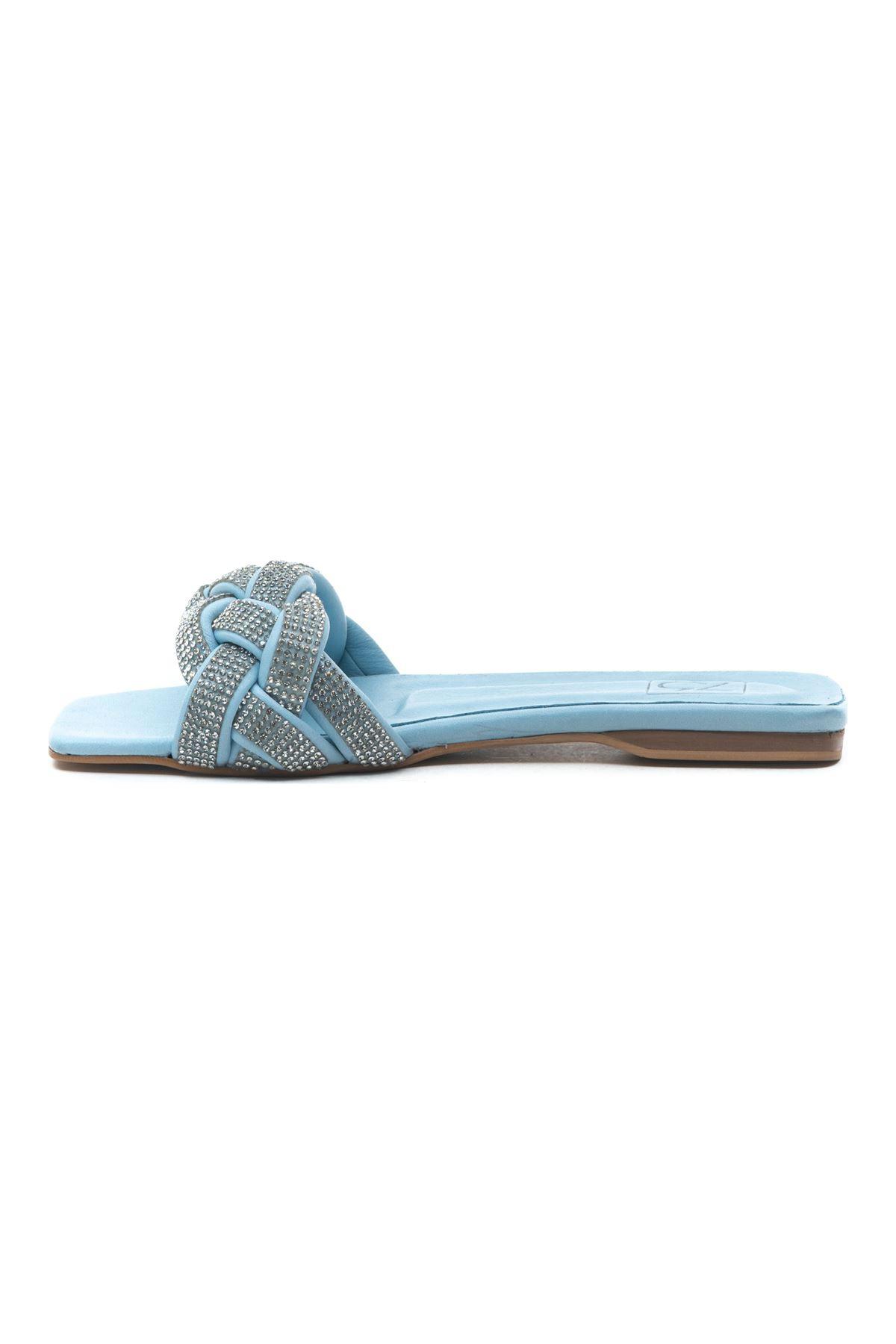 Crace Kadın Deri Terlik Bebe Mavi