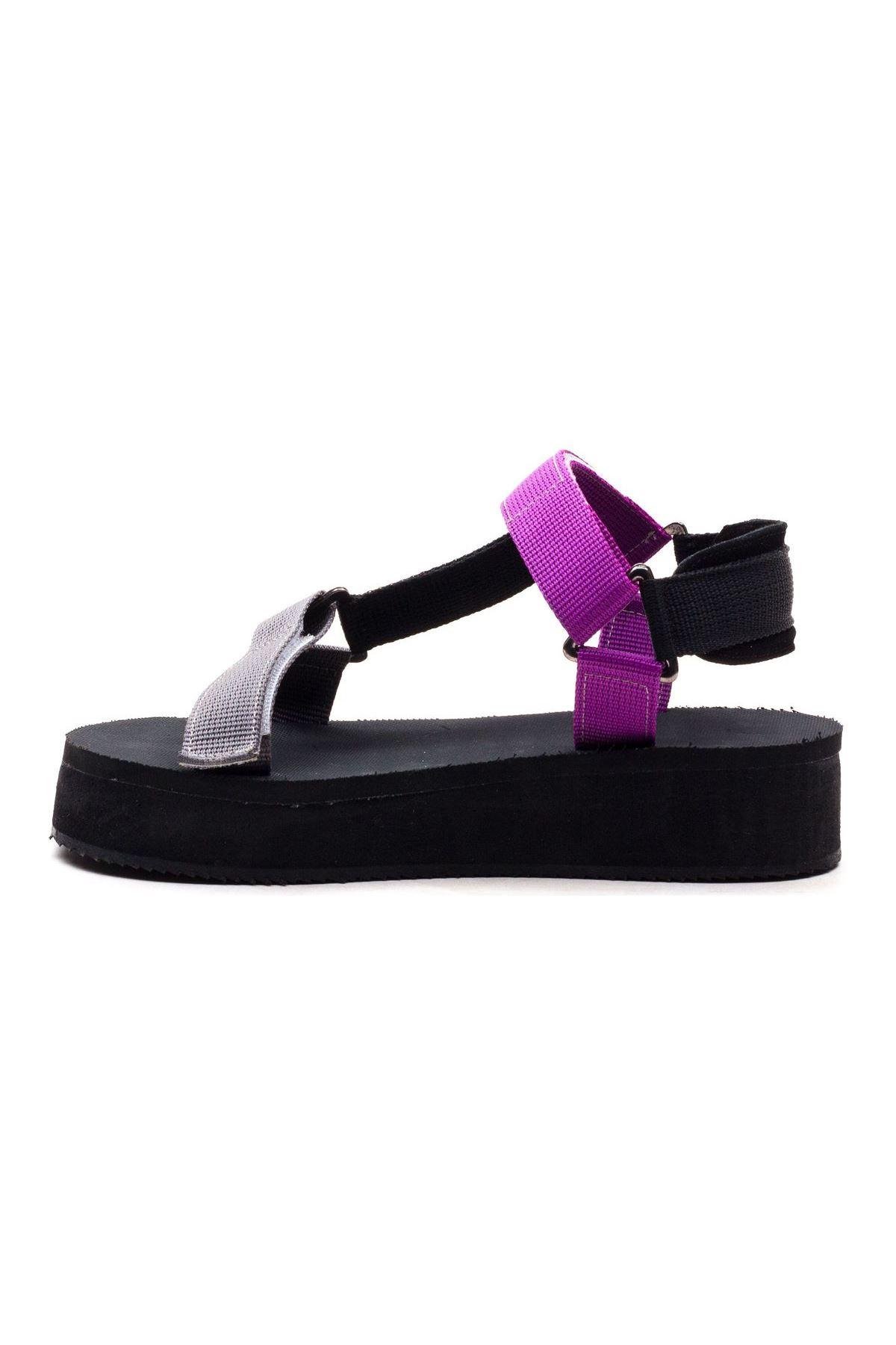 Carolina Kadın Sandalet Siyah Lila Gri