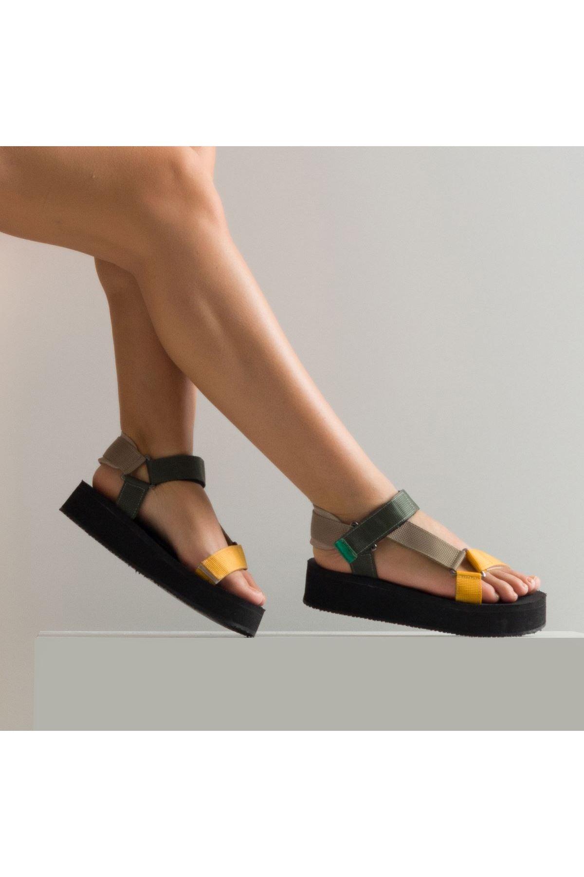 Carolina Kadın Sandalet Vizon Hardal Yeşil