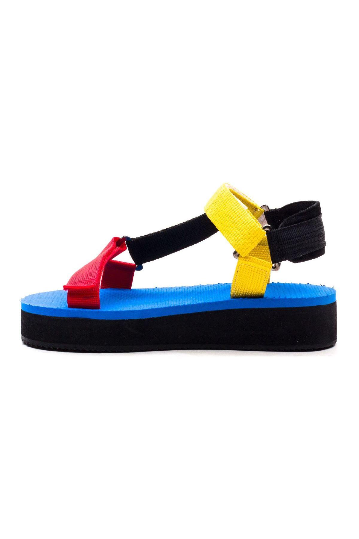 Carolina Kadın Sandalet Siyah Sarı Kırmızı